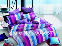500TC abstract plaid purple blue print discount cotton bed linen ... & 500TC abstract plaid purple blue print discount cotton bed linen cheaper  bedding set duvet covers for Adamdwight.com