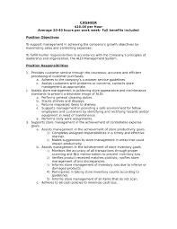 Cashier Job Description Resume And Duties For Supermarket