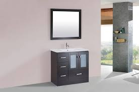 pacific 36 inch wide espresso finish single sink bathroom vanity cabinet with integrated sink left