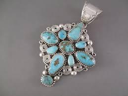 turquoise mountain turquoise cross pendant by navajo indian jewelry artist tonya june rafael 695
