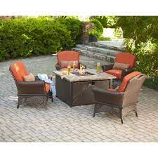 Hampton Bay Rosemarket 5 Piece Patio Fire Pit Set Xsc 1786 At The Home Depot Fire Pit Sets Patio Furniture Sets Fire Pit Seating