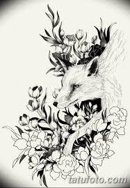 черно белый эскиз тату с лисой 11032019 042 Tattoo Sketch
