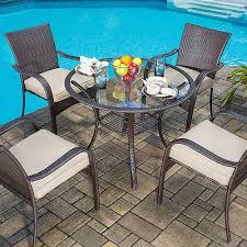 patio dining: mainstays wicker  piece patio dining set seats