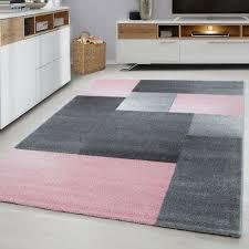 modern geometric rug pink and grey check design mat large bedroom lounge carpets
