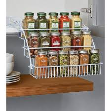 Rubbermaid Coated Wire In Cabinet Spice Rack Mesmerizing Rubbermaid PullDown Spice Rack Clever Design Container Store And