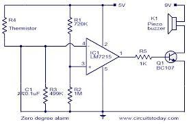 zero degree celsius alarm electronic circuits and diagram fire alarm circuit using thermistor at Fire Alarm Circuit Diagram
