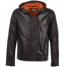 lightweight perforated hooded leather jacket brown jayden