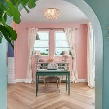 Eclectic home office Minimalist Pink Eclectic Home Office With Blue Desk Hgtv Photo Library Pink Eclectic Home Office Photos Hgtv