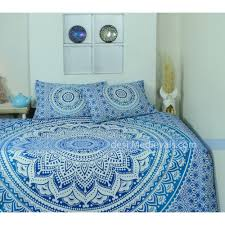 indian mandala blue ombre wall tapestry with pillows twin size bedding hippie room decor