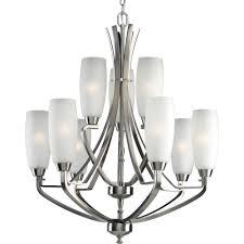 progress lighting wisten 9 light brushed nickel chandelier
