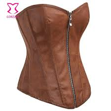 hot deal us 19 89 for brown leather corset overbust steampunk corsets zipper waist trainer korsett for women espartilhos e corpetes gothic clothing