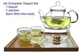 glass tea pot set warmer 6 double wall cup teapot