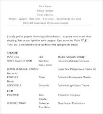 Example Of An Acting Resume Actors Resume Examples Acting Resume