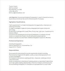 Examples Of Resume For Job Simple Photographer Job Description Photo Job Description For Resume Sample