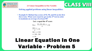 linear equation in one variable problem 5 equation maths class 8 viii isce cbse