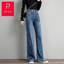 <b>Rfzk</b> Fashion Women Blue wide leg jeans <b>high waist</b> denim trousers ...