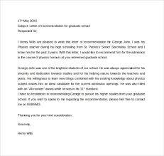 Recommendation Letter For Grad School Free 45 Sample Letters Of Recommendation For Graduate