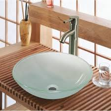 tempered glass bowl bathroom sink with unfinished wood console 16 glass sink ideas