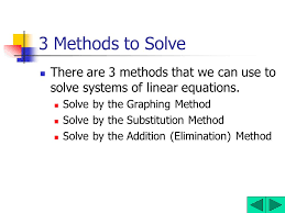 3 methods to solve there are 3 methods that we can use to solve systems of