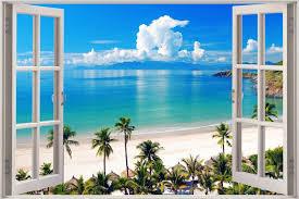 huge 3d window view exotic ocean beach wall sticker art decal throughout 2018 beach 3d