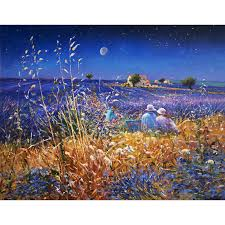 original painting by ted dyer lavender fields under the stars provence