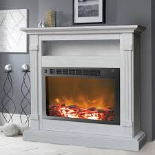 white electronic fireplace mantel with insert