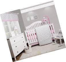 geenny optimababy pink grey chevron 6 piece baby girl nursery crib bedding set
