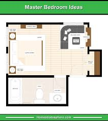 master bedroom with bathroom floor plans. En-suite Bathroom At The Left Side Of Bed With Fireplace, Sectional  Sofa, Center Table, And Walk-In Closet Front Master Bedroom Bathroom Floor Plans B