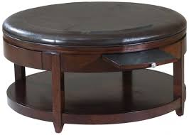 Round Black Leather Wood Ottoman Coffee Table With Pull Out Tray And Shelf