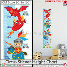 Details About Knight Dragon Height Chart Wall Sticker Measure Boys Childrens Art Ruler Growth