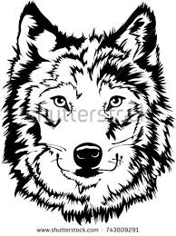 wolf face black and white. Simple Black Black U0026 White Wolf Face Silhouette Mascot Or Tattoo Art To And D