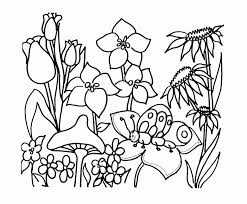 Grab your favorite crayons, markers or water colors and use the guides with each image to choose the right colors and make a nice picture. Black And White Drawing Of Garden Coloring Page Children Coloring Home