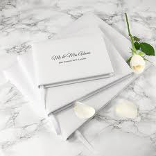 Wedding Guest Book Engraved White Leather Wedding Guest Book