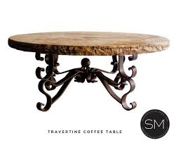 rustic travertine coffee table wrought