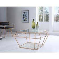 Modrest Ember Modern Rosegold U0026 Marble Coffee Table