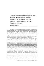 Charles Brockden Brown's Wieland and the Aesthetics of Terror: Revolution,  Reaction, and the Radical Enlightenment in Early
