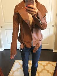 j crew denim jacket review mackage hania moto leather jacket cognac and pink