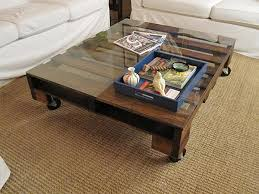 Furnitures:Rustic DIY Pallet Coffee Table With Glass Top Near White Sofas  Creative and Inspiring