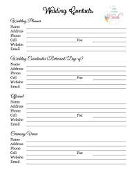 Wedding Checklist Template Cool Wedding Planning Vendor Contact List Wedding Planning Checklist