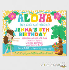 Hawaiian Pool Party Invitations Hawaii Themed Invitations Good Luau Birthday Party Invitations