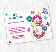 Birthday Invitation Party Butterfly 3rd Birthday Party Invitations