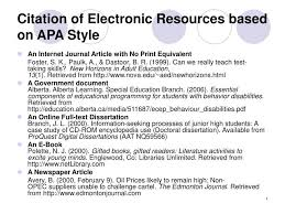 Apa Style For Powerpoint Ppt Citation Of Electronic Resources Based On Apa Style