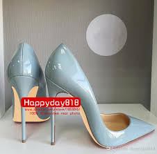 fashion women pumps blue grey patent leather point toe high heels thin heel shoes genuine leather 120mm 100mm real photo shoes basketball shoes from