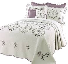 beautiful white green purple lavender fl quilt bedspread xl over sized king