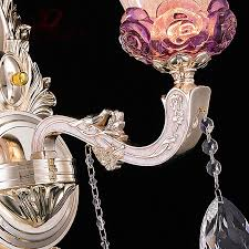 fancy murano glass wall light pink purple wall sconce with crystal