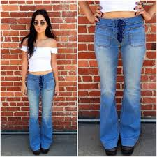 lace up seamed washed side zip hippie boho flare so cool festival boho hippie flower power flare bell bottoms size no tags pants