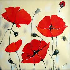oil painting flowers red poppies on museum quality canvas large size red white low on order