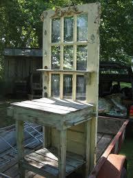 old door potting bench