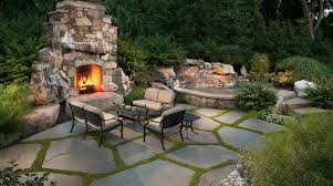 flagstone landscaping. Slab Patio With Green Joints Flagstone Landscaping