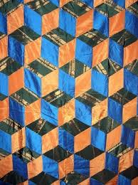 Orange and Blue Tumbling Blocks Quilt with Prairie Points & Antique Orange and Blue Tumbling Blocks Quilt with Prairie Points Adamdwight.com